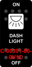 """DASH LIGHT""  Black Switch Cap single White Lens  ON-OFF"
