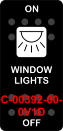 """WINDOW LIGHTS""  Black Switch Cap single White Lens  ON-OFF"