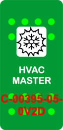 """HVAC MASTER""  Green Switch Cap single White Lens  (ON)-OFF"