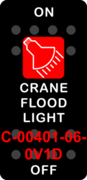 """CRANE FLOOD LIGHT""  Black Switch Cap single Red Lens  ON-OFF"