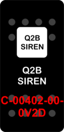 """Q2B SIREN""  Black Switch Cap single White Lens  (ON)-OFF"
