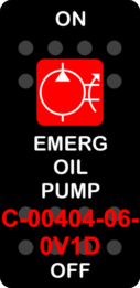 """EMERG OIL PUMP""  Black Switch Cap single Red Lens ON-OFF"