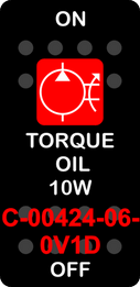 """""""TORQUE OIL 10W""""  Black Switch Cap single Red Lens  ON-OFF"""