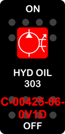 """""""HYD OIL 303""""  Black Switch Cap single Red Lens  ON-OFF"""