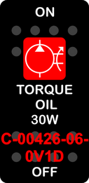 """""""TORQUE OIL 30W""""  Black Switch Cap single Red Lens  ON-OFF"""
