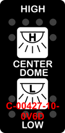 """""""CENTER DOME""""  Black Switch Cap dual White Lens  ON-OFF-ON"""