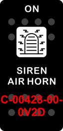 """""""SIREN AIR HORN""""  Black Switch Cap single White Lens  (ON)-OFF"""