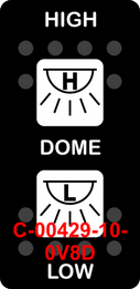 """""""HIGH DOME LOW""""  Black Switch Cap dual White Lens  (ON)-OFF-(ON)"""