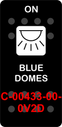 """""""BLUE DOMES""""  Black Switch Cap single White Lens  (ON)-OFF"""