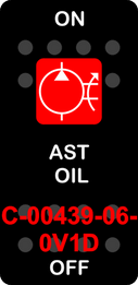 """""""AST OIL""""  Black Switch Cap single Red Lens  ON-OFF"""