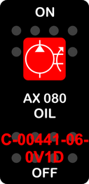 """""""AX 080 OIL""""  Black Switch Cap single Red Lens  ON-OFF"""