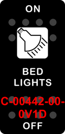 """""""BED LIGHTS""""  Black Switch Cap single White Lens ON-OFF"""