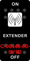 """""""EXTENDER""""  Black Switch Cap single White Lens ON-OFF"""