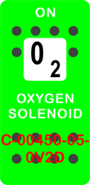 """""""OXYGEN SOLENOID""""  Green Switch Cap single White Lens (ON) OFF"""