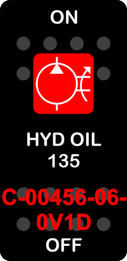 """""""HYD OIL 135""""  Black Switch Cap single Red Lens  ON-OFF"""