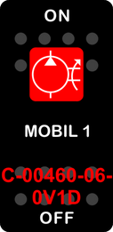 """""""MOBIL 1""""  Black Switch Cap single Red Lens  ON-OFF"""