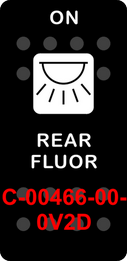 """REAR FLOUR""  Black Switch Cap single White Lens (ON) OFF"