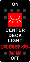 """CENTER DECK LIGHT""  Black Switch Cap single Red Lens ON OFF"