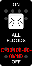 """ALL FLOODS""  Black Switch Cap single White Lens  ON-OFF"