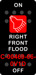 """RIGHT FRONT FLOOD""  Black Switch Cap single Red Lens ON OFF"