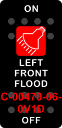 """LEFT FRONT FLOOD""  Black Switch Cap single Red Lens ON OFF"
