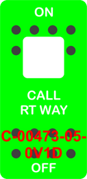 """CALL RT WAY""  Green Switch Cap single White Lens ON OFF"