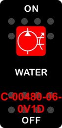 """WATER""  Black Switch Cap single Red Lens ON OFF"