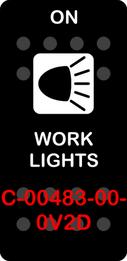 """WORK LIGHTS""  Black Switch Cap single White Lens (ON) OFF"