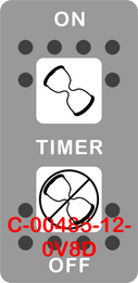 """TIMER""  Grey Switch Cap dual White Lens  (ON)-OFF-(ON)"
