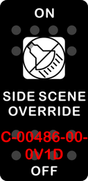 """SIDE SCENE OVERRIDE""  Black Switch Cap single White Lens ON OFF"