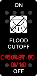 """FLOOD CUTOFF""  Black Switch Cap single White Lens ON OFF"