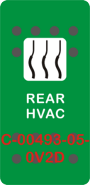 """REAR HVAC""  Green Switch Cap single White Lens (ON) OFF"