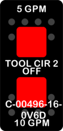 """5GPM TOOL CIR 2 10GPM""  Black Switch Cap dual Red Lens  ON-OFF-ON"