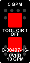 """5GPM TOOL CIR 1 10GPM""  Black Switch Cap dual Red Lens  ON-OFF-ON"