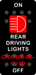 """""""REAR DRIVING LIGHTS""""  Black Switch Cap single Red Lens ON OFF"""