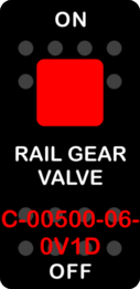 """RAIL GEAR VALVE""  Black Switch Cap single Red Lens ON OFF"