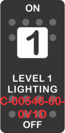 """LEVEL 1 LIGHTING""  Black Switch Cap single White Lens ON-OFF"