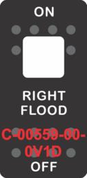 """RIGHT FLOOD""  Black Switch Cap single white Lens  ON-OFF"