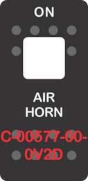 """AIR HORN"" Black Switch Cap Single White Lens (ON) OFF"