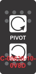 """PIVOT""  Black Switch Cap dual White Lens  (ON)-OFF-(ON)"