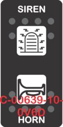 """""""SIREN HORN""""  Black Switch Cap dual White Lens  (ON)-OFF-(ON)"""