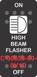 """HIGH BEAM FLASHER"" Black Switch Cap SIngle White Lens ON-OFF"