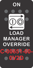 """LOAD MANAGER OVERRIDE"" Black Switch Cap single White Lens (ON)-OFF"
