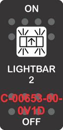 """""""LIGHTBAR 2""""Black Switch Cap SIngle White Lens ON-OFF"""