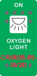 """OXYGEN LIGHT"" Green Switch Cap single White Lens  (ON)-OFF"