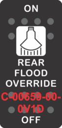 """REAR FLOOD OVERRIDE"" Black Switch Cap SIngle White Lens ON-OFF"