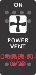 """POWER VENT""  Black Switch Cap single White Lens (ON) OFF"