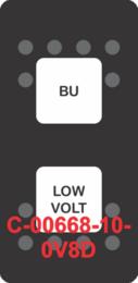 """BU LOW VOLT""  Black Switch Cap dual White Lens  (ON)-OFF-(ON)"