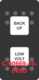 """""""BACK UP LOW VOLT""""  Black Switch Cap dual White Lens  (ON)-OFF-(ON)"""