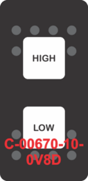 """""""HIGH LOW""""  Black Switch Cap dual White Lens  (ON)-OFF-(ON)"""